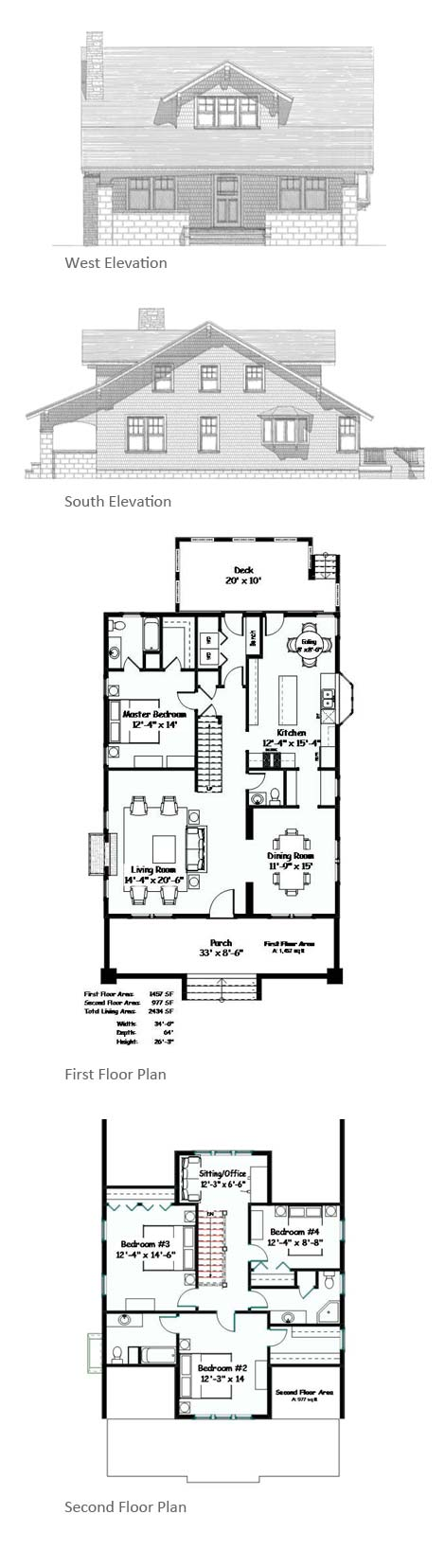 Liberty Cottage elevations and floor plans